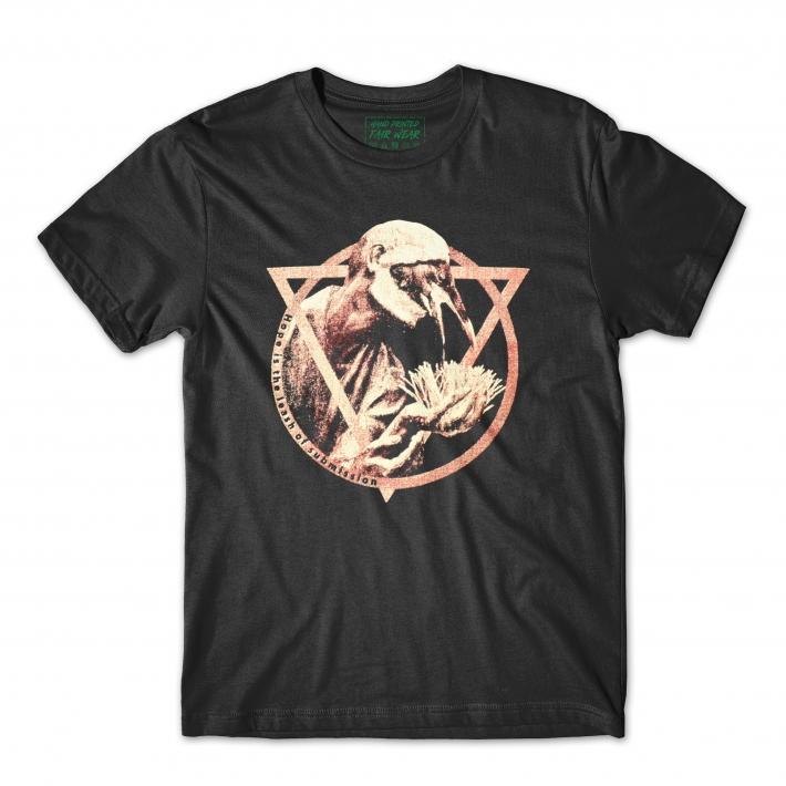 Black t-shirt, hand printed urban clothing.